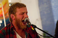 Canton, Ohio's rock band, A Minor Bird, perform during an event at Barking Dog Studios in the South Side of Pittsburgh, Pennsylvania on February 4, 2012.