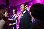 Oct. 4, 2011 - Tokyo, Japan - Japanese visitors touch the wax figure of Brad Pitt at the Madame Tussauds museum exhibit. The world's 13th Madame Tussauds museum showcases 19 wax figures of  celebrity musicians and movie stars. (Photo by Christopher Jue/AFLO)