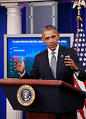 United States President Barack Obama makes a statement on the economy and announces new initiatives to strengthen financial transparency and combat money laundering, corruption, and tax evasion in the White House press briefing room in Washington, DC on May 6, 2016.<br /> Credit: Dennis Brack / Pool via CNP