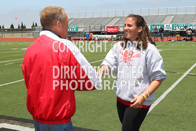 San Diego, CA 05/21/11 - Coach Robinsonduring the awards ceremony following the 2011 CIF San Diego Division 2 Girls lacrosse finals between Cathedral Catholic and Coronado.