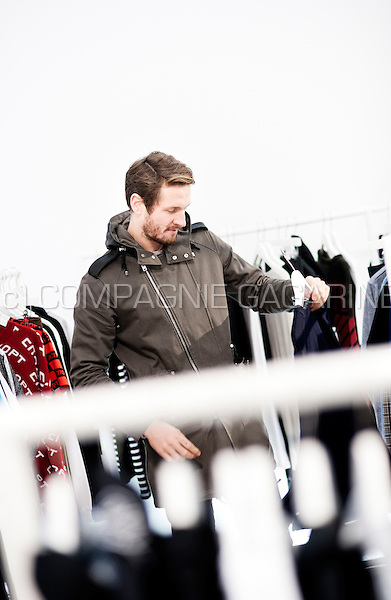 French football player Damien Marcq shopping in the Dansaert fashion area in Brussels
