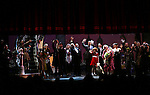 J. Elaine Marcos, Clarke Thorell, Anthony Warlow, Merwin Foard, Lilla Crawford, Jane Lynch, Brynn O'Malley during the Curtain Call for Jane Lynch debuting as Miss Hannigan in 'Annie The Musical' on Broadway at the Palace Theatre in New York City on May 16, 2013.