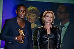 Cédric Ido (bayard d'or du meilleur court métrage) et Astrid Whettnall lors de la soirée de remise des bayards lors de la  29eme édition du Festival du Film Francophone, Namur le 03 octobre 2014 Belgique
