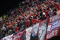Olympiacos´s supporters during Champions League soccer match between Atletico de Madrid and Olympiacos at Vicente Calderon stadium in Madrid, Spain. November 26, 2014. (ALTERPHOTOS/Victor Blanco) /NortePhoto