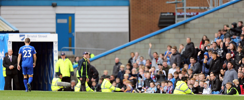 Everton's Seamus Coleman heads for the tunnel after being shown a red card by referee Graham Scott following his second yellow card for his foul on Burnley's Dwight McNeil<br /> <br /> Photographer Rich Linley/CameraSport<br /> <br /> The Premier League - Burnley v Everton - Saturday 5th October 2019 - Turf Moor - Burnley<br /> <br /> World Copyright © 2019 CameraSport. All rights reserved. 43 Linden Ave. Countesthorpe. Leicester. England. LE8 5PG - Tel: +44 (0) 116 277 4147 - admin@camerasport.com - www.camerasport.com