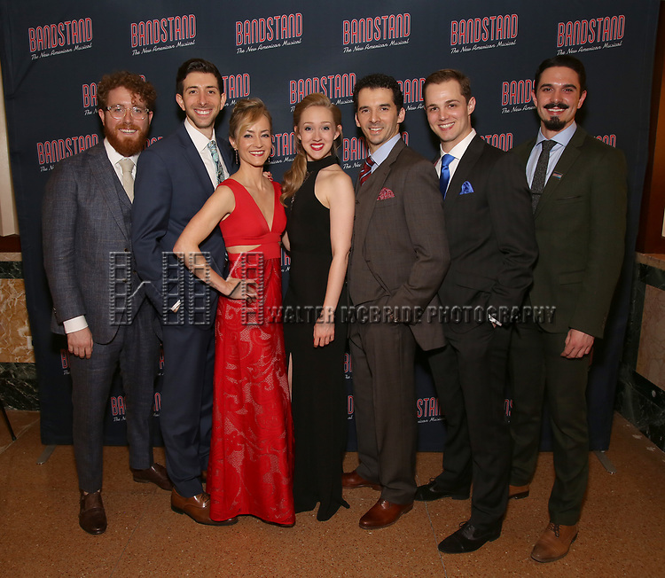 Swing casdt members attends the Broadway Opening Night After Party of 'Bandstand' at the Edison Ballroom on 4/26/2017 in New York City.