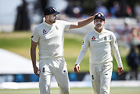 23rd November 2019; Mt Maunganui, New Zealand;  England's Dom Sibley consoles Rory Burns who left the field with a bloodied hand during play on Day 3, 1st Test match between New Zealand versus England. International Cricket at Bay Oval, Mt Maunganui, New Zealand.  - Editorial Use