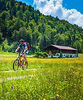 Deutschland, Bayern, Chiemgau, Reit im Winkl: alter Chiemgauer Bauernhof in Alleinlage   Germany, Upper Bavaria, Chiemgau, Reit im Winkl: old Chiemgau farmhouse