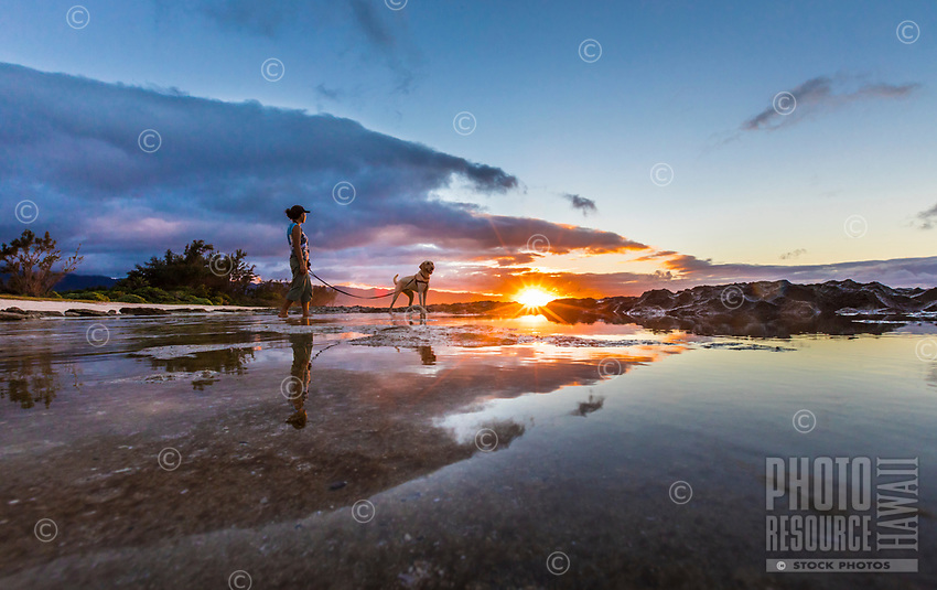 A woman and her dog at sunset on a beach on the North Shore of O'ahu.