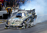 Jul 24, 2016; Morrison, CO, USA; NHRA funny car driver John Force during the Mile High Nationals at Bandimere Speedway. Mandatory Credit: Mark J. Rebilas-USA TODAY Sports