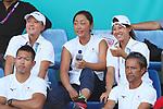 (L-R)    Erina Hayashi,  Eri Hozumi, Miyu Kato (JPN), <br /> AUGUST 20, 2018 - Tennis : <br /> Women's Doubles Round of 32 <br /> at Jakabaring Sport Center Tennis Court <br /> during the 2018 Jakarta Palembang Asian Games <br /> in Palembang, Indonesia. <br /> (Photo by Yohei Osada/AFLO SPORT)