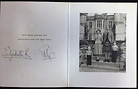 BNPS.co.uk (01202 558833)<br /> Pic: Rowleys/BNPS<br /> <br /> Pictured: 1952 - Elizabeth signs R after the death of her father, first appearance of Charles and Anne sold for £120<br /> <br /> <br /> A series of Christmas cards sent by the Royal Family to a married couple on their staff over a 25 year period have sold for £2,000.<br /> <br /> Most of the cards were sent by the Queen and Prince Philip and show the changing face of the monarchy from the black-and-white post war world to the colourful 1970s.<br /> <br /> They were sent to the couple who worked at Balmoral, the wife in the house and the husband on the estate.<br /> <br /> The cards were sold individually with the most expensive being the one for Christmas 1947 which was signed by King George VI and the Queen Mother.