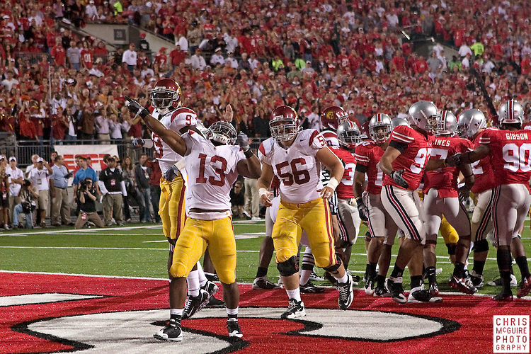 12 September 2009:  Football -- USC running back Stafon Johnson celebrates his first quarter touchdown against Ohio State during their game at Ohio Stadium in Columbus.  USC won 18-15.  Photo by Christopher McGuire.