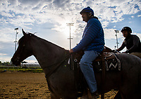 LOUISVILLE, KENTUCKY - MAY 03: Trainer Steve Asmussen rides a horse on the track while watching his horses exercise in the morning at Churchill Downs on May 3, 2017 in Louisville, Kentucky. (Photo by Jon Durr/Eclipse Sportswire/Getty Images)