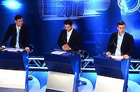 ATENCAO EDITOR: FOTO EMBARGADA PARA VEICULOS INTERNACIONAIS. - RIO DE JANEIRO, RJ, 05 DE SETEMBRO 2012 - ELEICOES 2012-DEBATE REDE TV - Rodrigo Maia do DEM, Otavio Leite PSDB e Marcelo Freixo PSOL no debate eleitoral com os candidatos a Prefeito do Rio de Janeiro no Clube Monte Líbano, na Gavea, na zona sul do Rio de Janeiro.(FOTO: MARCELO FONSECA / BRAZIL PHOTO PRESS).