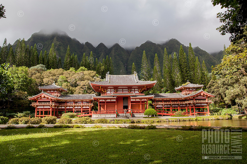 Byodo-In Temple at the Valley of the Temples Memorial Park, Kane'ohe, O'ahu.
