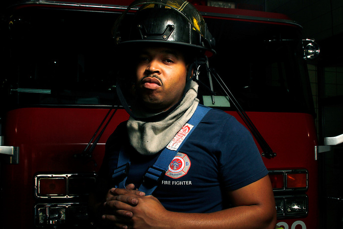 "FireFighter Cortez Mack has been on the Memphis Fire Department for 2 years now. ""I love it"", he says."