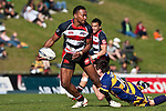 Seremaia Tagickibau looks for support as he is tackled by Jason Hona. Air New Zealand Cup rugby game between Counties Manukau Steelers & Bay of Plenty played at Bayer Growers Stadium, Pukekohe on Sunday August 9th 2009..Bay of Plenty won 32 - 9.