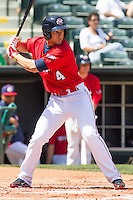 Oklahoma City RedHawks left fielder Robbie Grossman (4) at bat during the Pacific League game at the Chickasaw Bricktown Ballpark against the New Orleans Zephyrs on April 13, 2014 in Oklahoma City, Oklahoma.  The RedHawks defeated the Zephyrs 4-3.  (William Purnell/Four Seam Images)