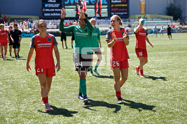 Portland, OR - Saturday August 05, 2017: Hayley Raso, Adrianna Franch, Mallory Weber after a regular season National Women's Soccer League (NWSL) match between the Portland Thorns FC and the Houston Dash at Providence Park.