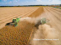 63801-09005 Soybean Harvest, 2 John Deere combines harvesting soybeans - aerial - Marion Co. IL