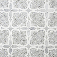 Aiden&reg;, a handmade mosaic shown in polished and honed Carrara and polished Thassos, is part of The Studio Line of Ready to Ship mosaics.<br />