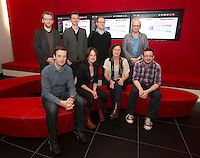 ***NO FEE PIC *** 05/06/2014 (L to R) Jury Members (L to R)back row Jury Members Brian Gleeson – Actor (Love/Hate, Snow White and the Huntsman), Nicky Phelan at Oscar-nominated animator at Brown Bag Films, Conor McPherson – Award-winning playwright and screenwriter, Lenny Abrahamson – Award-winning director of Frank, Adam and Paul, Garage and What Richard Did (L to R front row) Eoghan Rice from Food Not Fuel, Niamh Heery from Harmanli: Trapped on the Fringe of Freedom, Roisin Loughrey Director of The Room, Alan Whelan from Food Not Fuel during the launch of the ICCL Human Rights Film Awards Shortlist at the IFCO in Smith field, Dublin. Photo: Gareth Chaney Collins