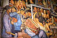 Detail of mural by Diego Rivers depicting the history of Mexico, National Palace or Palacio Nacional, Mexico City.