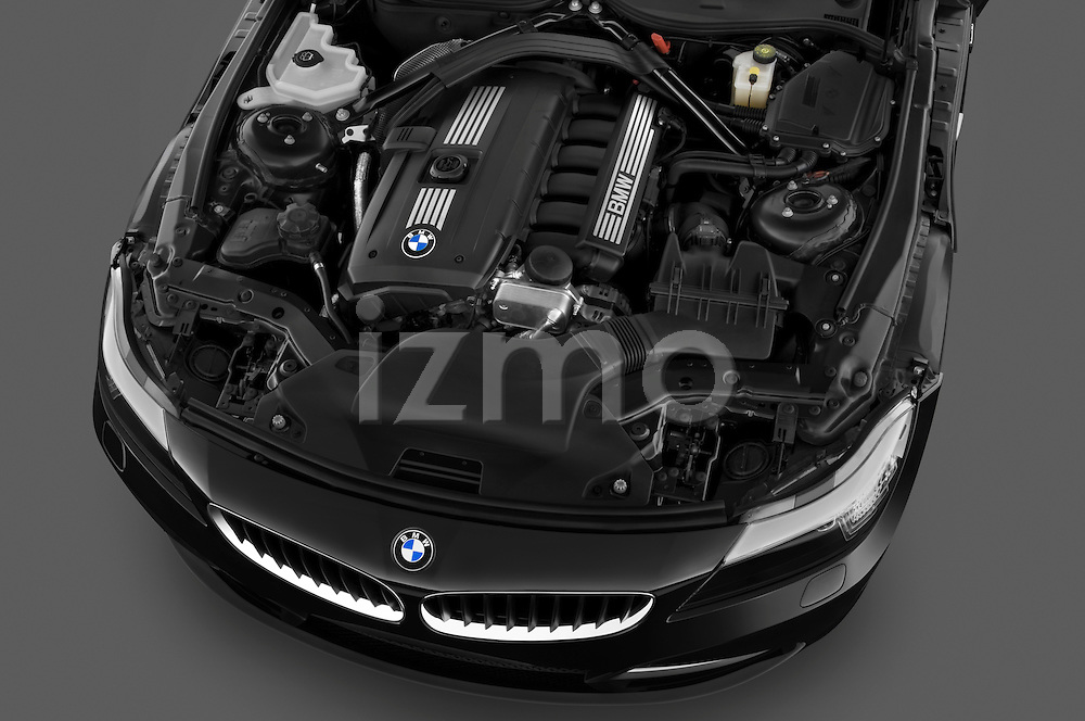 High angle engine detail of a 2009 BMW Z4 3.0i .