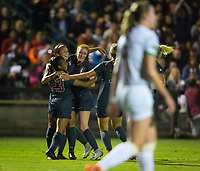 STANFORD, CA - August 24, 2018: Kiki Pickett, Sophia Smith, Beattie Goad at Laird Q. Cagan Stadium. The Stanford Cardinal defeated the USF Dons 5-1.