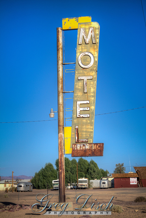 remains of the Henning Motel in Newberry Springs Califromia on Route 66.