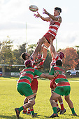 Jamie Gilbert-Clark takes uncontested lineout ball for Karaka. Counties Manukau Premier Club Rugby game between Karaka and Waiuku, played at Karaka Sports Park on Saturday June 9th 2018. Karaka won the game 22 - 18 after trailing 5 - 13 at halftime.  Photo by Richard Spranger.