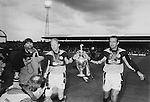 Steven Pears and his replacement Alan Miller, parade the First Division trophy after Pears' testimonial match, May 16th 1995. The match was the last game ever played at Ayesome Park. Photo by Paul Thompson