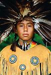 Native American, Yakama portrait in fancy dress, Washington