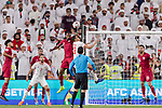 Abdelkarim Hassan of Qatar (L) fights for the ball with Ismail Ahmed Mohamed of United Arab Emirates (R) during the AFC Asian Cup UAE 2019 Semi Finals match between Qatar (QAT) and United Arab Emirates (UAE) at Mohammed Bin Zaied Stadium  on 29 January 2019 in Abu Dhabi, United Arab Emirates. Photo by Marcio Rodrigo Machado / Power Sport Images