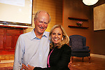 """Hubby Steve comes to see his wife Tina Sloan as she stars in Changing Shoes - """"a one-woman show, about the beautiful, life changing and sometimes difficult discoveries we make when we least expect them. Tina Sloan, a successful actress, mother, wife and friend has a chance encounter one night with an old pair of shoes, sending her on a journey she never planned to take. Join Tina as she searches for the answers to life's ultimate questions in the bottom of her closet and finds reasons to celebrate rather than to give up as she ages. Clips of 26 years on Guiding Light and in movies she has done add to the show's humor and sadness."""" on August 17, 2009 at the Cape May Stage, Cape May, New Jersey. Tina and Joe Plummer wrote the show and Joe also is the director of the show. The Artistic Director of the Cape May Stage is Roy Steinberg (R) who was a director and producer of Guidin  (Photo by Sue Coflin/Max Photos)"""