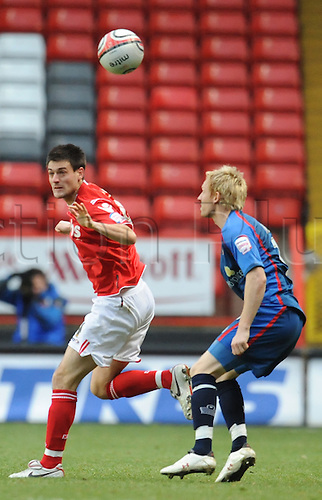 12.12.2010 League One Football from the Valley. Charlton Athletic v Walsall. Walsall won 1-0. Johnnie Jackson of Charlton clears the ball from the Walsall attack