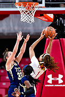 College Park, MD - NOV 29, 2017: Maryland Terrapins forward Shakira Austin (1) makes a strong moe to the basket against Georgia Tech Yellow Jackets guard Francesca Pan (33) during ACC/Big Ten Challenge game between Gerogia Tech and the No. 7 ranked Maryland Terrapins. Maryland defeated The Yellow Jackets 67-54 at the XFINITY Center in College Park, MD.  (Photo by Phil Peters/Media Images International)