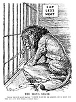 "The Lion's Share. British Lion (with pained surprise). ""I don't want to be greedy, but I must say this is a bit too thick - I mean thin."" [a small piece of meat with 'Latest Reparations Proposal' is offered to the British Lion who is reminded to 'Eat Less Meat']"