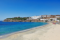The beach of Agios Stefanos in Mykonos, Greece