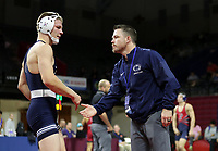 PHILADELPHIA, PA - NOVEMBER 18: Jason Nolf of the Penn State Nittany Lions is congratulated by assistant coach Cody Sanderson after winning the 157 pound championship match at the Keystone Classic on November 18, 2018 at The Palestra on the campus of the University of Pennsylvania in Philadelphia, Pennsylvania. (Photo by Hunter Martin/Getty Images) *** Local Caption *** Jason Nolf