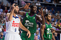 Real Madrid's player Felipe Reyes and Unicaja Malaga's player Viny Okouo and Kyle Fogg during match of Liga Endesa at Barclaycard Center in Madrid. September 30, Spain. 2016. (ALTERPHOTOS/BorjaB.Hojas) /NORTEPHOTO.COM