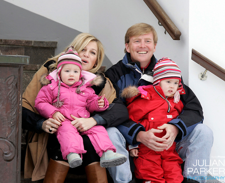 Crown Prince Willem-Alexander & Crown Princess Maxima of Holland, with daughters Princess Catharina-Amalia & Princess Alexia, pose for photographs at the start of their annual skiing holiday in Lech, Austria..=
