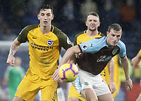 Burnley's Chris Wood vies for possession with Brighton & Hove Albion's Lewis Dunk<br /> <br /> Photographer Rich Linley/CameraSport<br /> <br /> The Premier League - Burnley v Brighton and Hove Albion - Saturday 8th December 2018 - Turf Moor - Burnley<br /> <br /> World Copyright © 2018 CameraSport. All rights reserved. 43 Linden Ave. Countesthorpe. Leicester. England. LE8 5PG - Tel: +44 (0) 116 277 4147 - admin@camerasport.com - www.camerasport.com