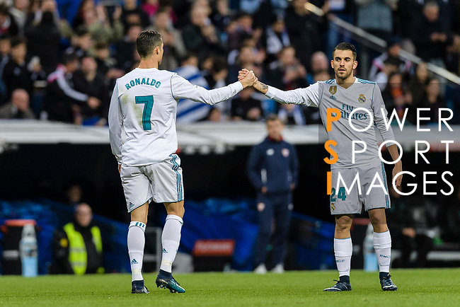 Cristiano Ronaldo of Real Madrid (L) switch off Daniel Ceballos of Real Madrid (R) during La Liga 2017-18 match between Real Madrid and Sevilla FC at Santiago Bernabeu Stadium on 09 December 2017 in Madrid, Spain. Photo by Diego Souto / Power Sport Images