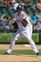 Round Rock pitcher Cory Burns (38) delivers a pitch against the Nashville Sounds in the Pacific Coast League baseball game on May 5, 2013 at the Dell Diamond in Round Rock, Texas. Round Rock defeated Nashville 5-1. (Andrew Woolley/Four Seam Images).