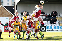 Beth Mead of Arsenal rises for a corner during Arsenal Women vs Yeovil Town Ladies, FA Women's Super League FA WSL1 Football at Meadow Park on 11th February 2018