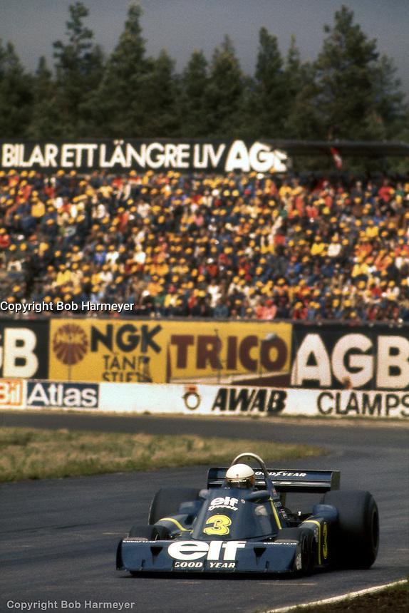 ANDERSTORP, SWEDEN - JUNE 13: Jody Scheckter drives the Tyrrell P34 3/Ford Cosworth DFV during the Grand Prix of Sweden on June 13, 1976, at Scandinavian Raceway near Anderstorp, Sweden.