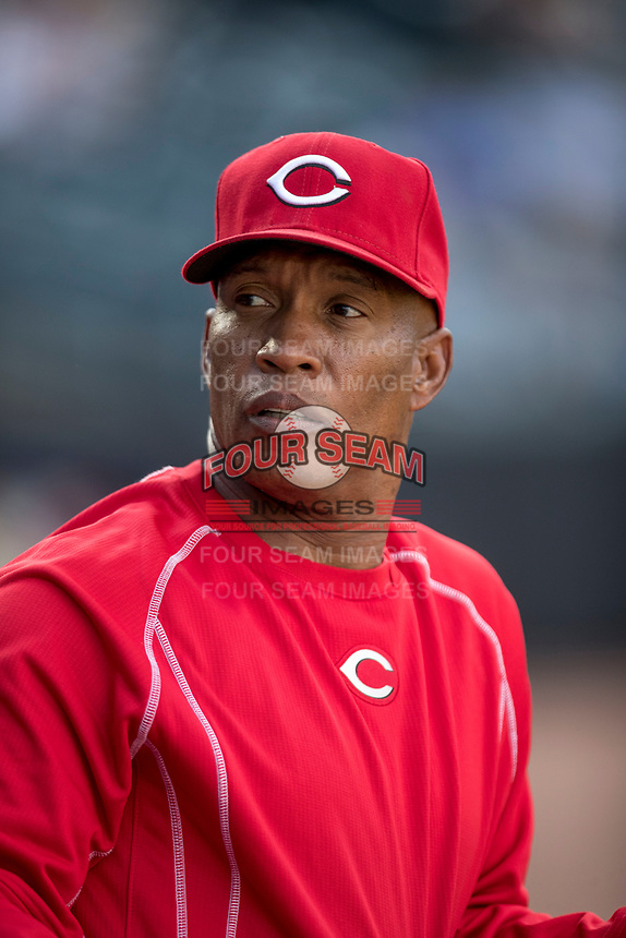 Cincinnati Reds minor league instructor Milt Thompson in the dugout for the Louisville Bats against the Toledo Mud Hens International League baseball game on May 17, 2017 at Fifth Third Field in Toledo, Ohio. Toledo defeated Louisville 16-2. (Andrew Woolley/Four Seam Images)