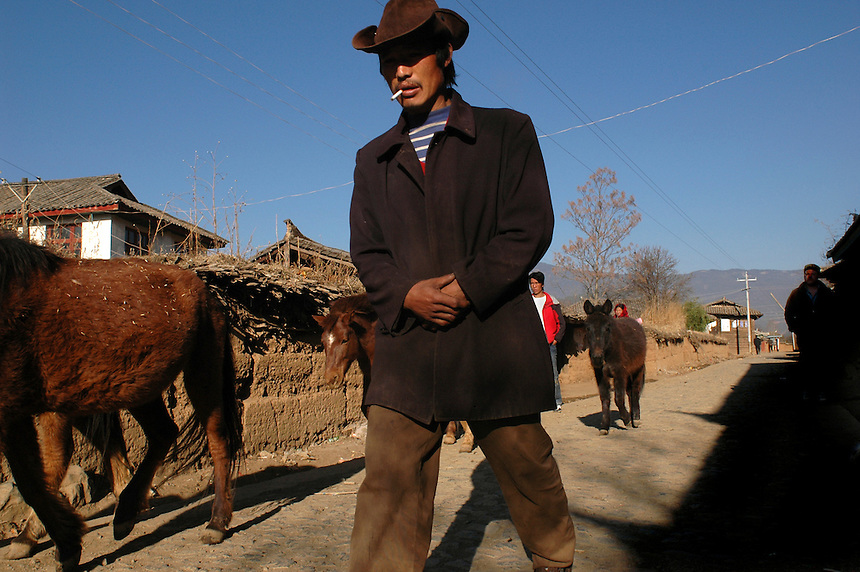 A Moso farmer accompanies a team of horses to pasture early on a chilly morning.  The horses are usually led to pasture at dawn and will return to their individual homes in the evening on their own.